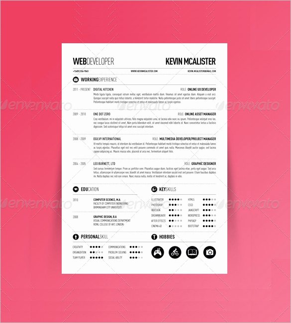 One Page Resume Examples Awesome 41 E Page Resume Templates Free Samples Examples