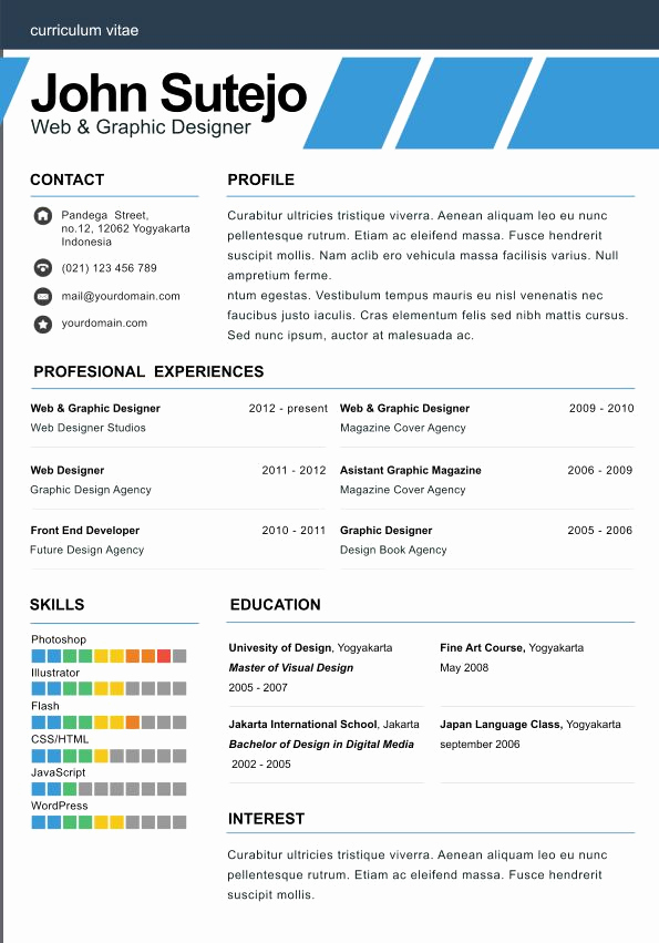 One Page Resume Examples Awesome top 3 Resume Templates In Month Of July 2014