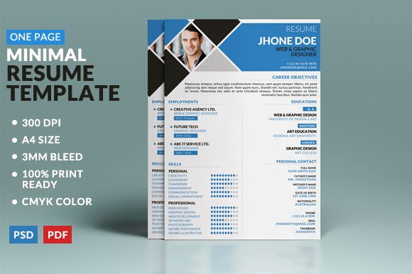 One Page Resume Examples Best Of Minimal E Page Resume Template Resume Templates