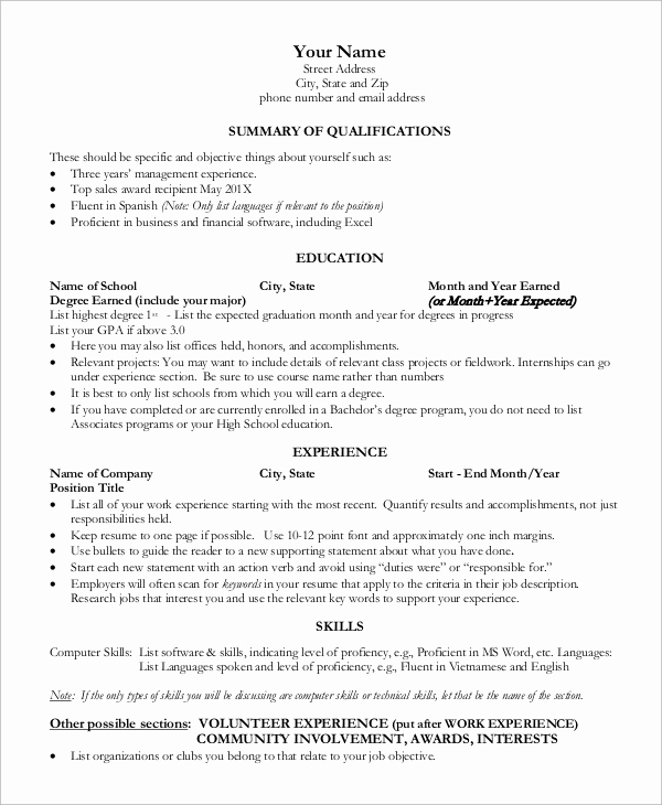 One Page Resume Examples Best Of Sample E Page Resume 9 Examples In Word Pdf