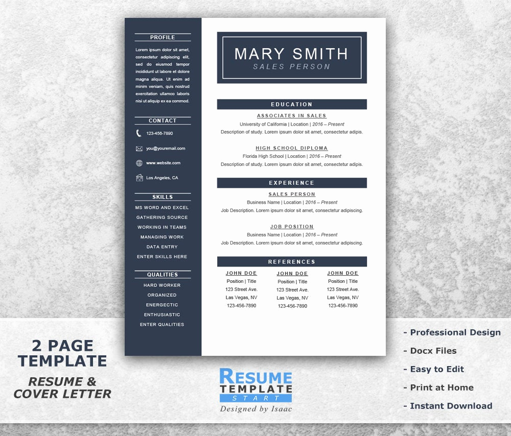 One Page Resume Examples New E Page Resume Template Word Resume Cover Letter Templates