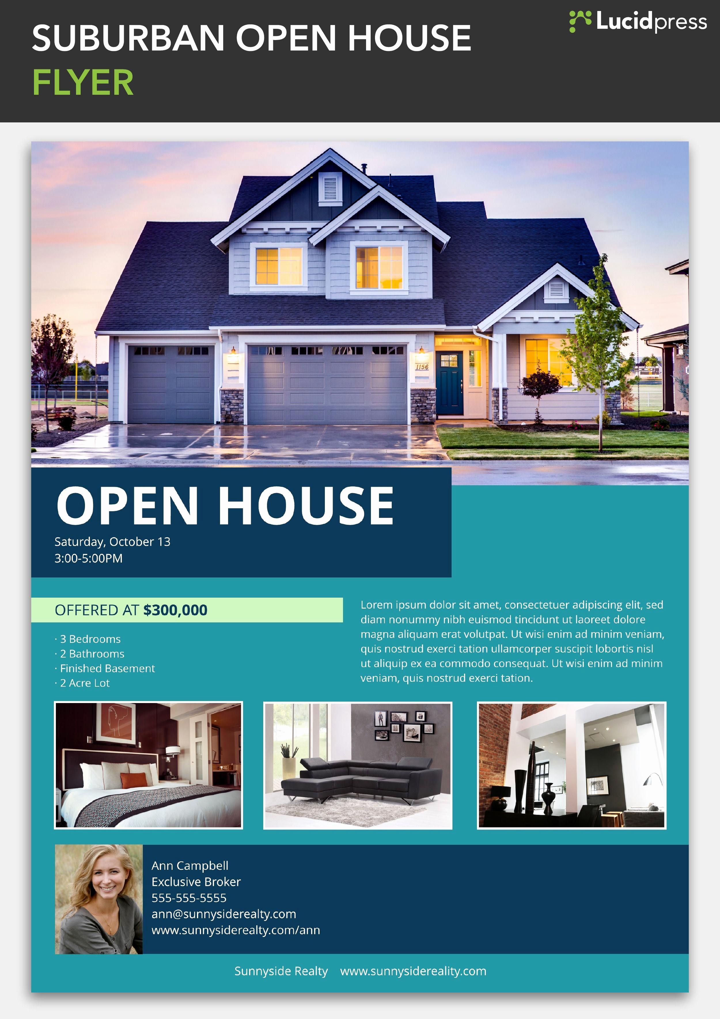 Open House Flyers Template Lovely Suburban Open House Flyer Template