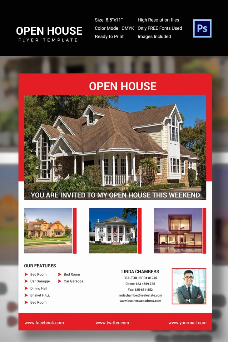 Open House Flyers Templates Awesome 30 Open House Flyers Printable Psd Ai Word Eps