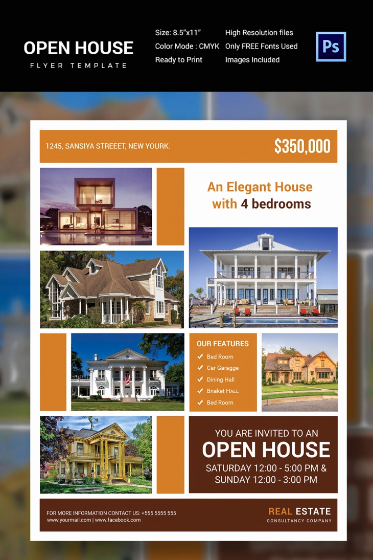 Open House Flyers Templates New 30 Open House Flyers Printable Psd Ai Word Eps