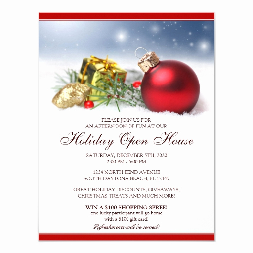 Open House Invite Template Inspirational Festive Holiday Open House Invitations Template