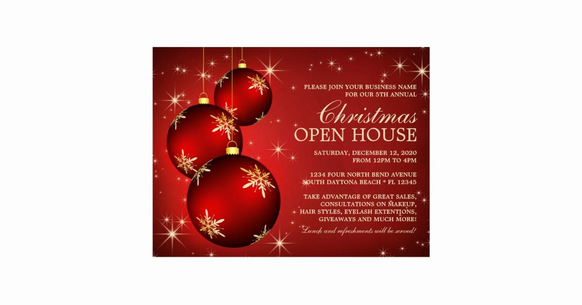 Open House Invite Templates Beautiful Elegant Christmas Open House Invitation Template Postcard