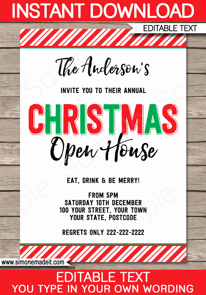 Open House Invite Templates Lovely Printable Christmas Party Invitations