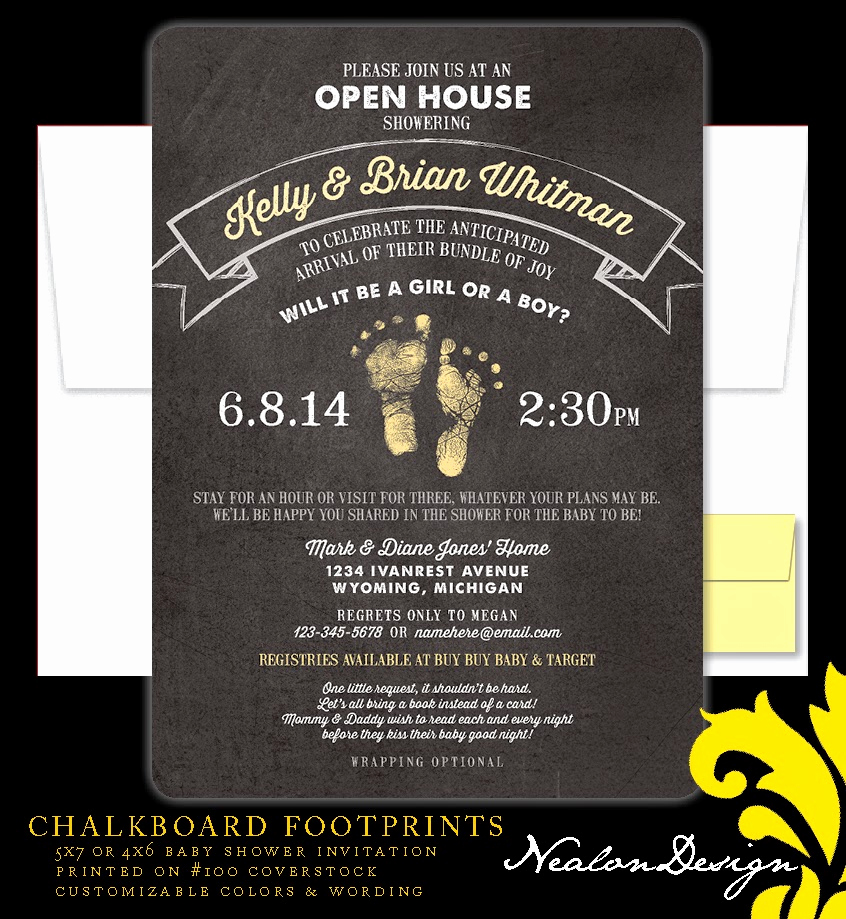 Open House Invites Wording Beautiful Nealon Design Chalkboard Footprints Baby Shower