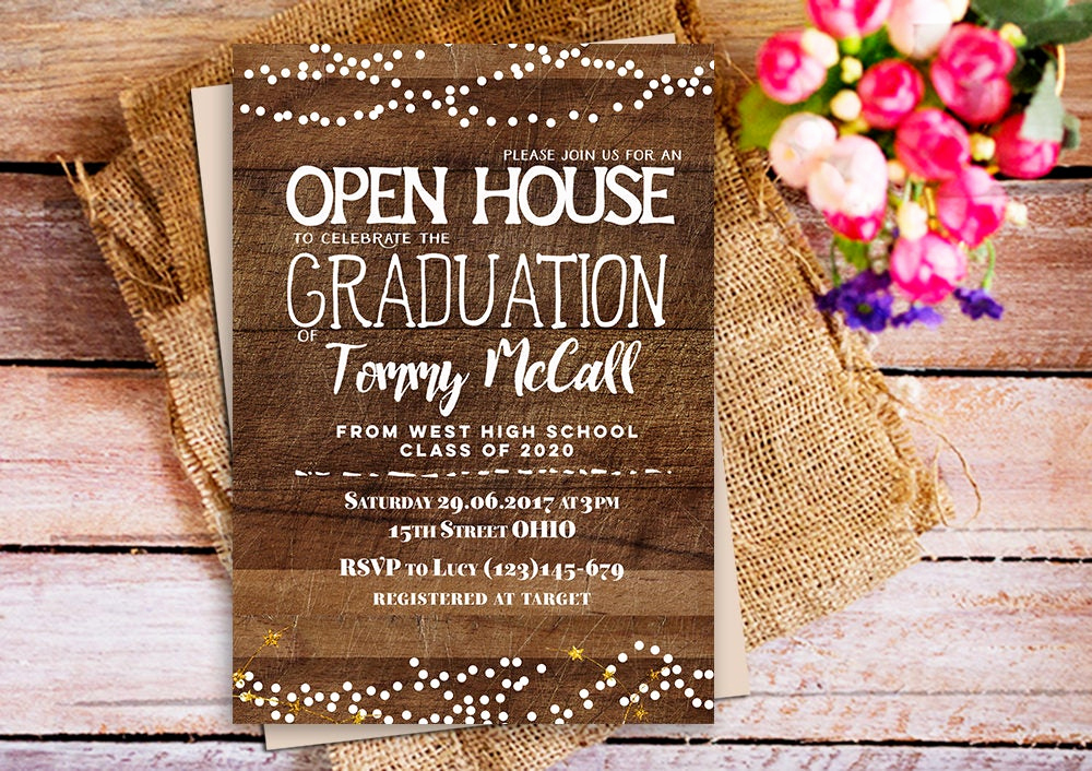 Open House Invites Wording Beautiful Open House Graduation Invitation Rustic Wood Graduation
