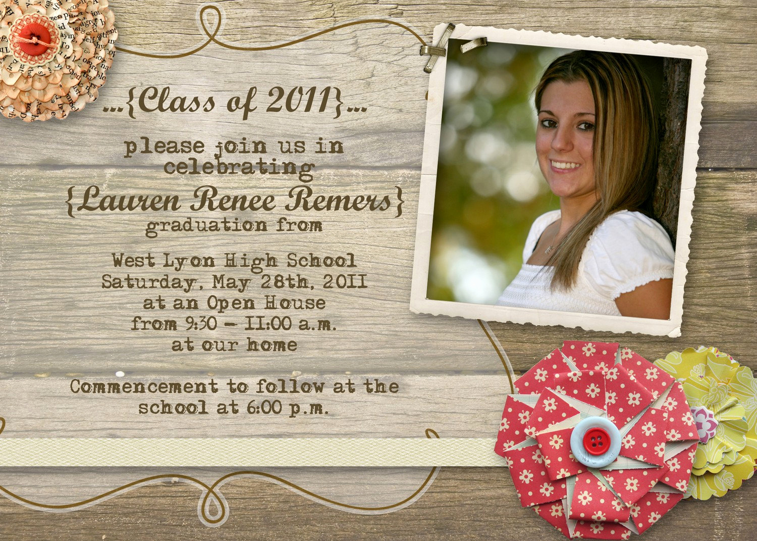 Open House Invites Wording Beautiful Rustic Graduation Open House Invitation by Gwenmariedesigns