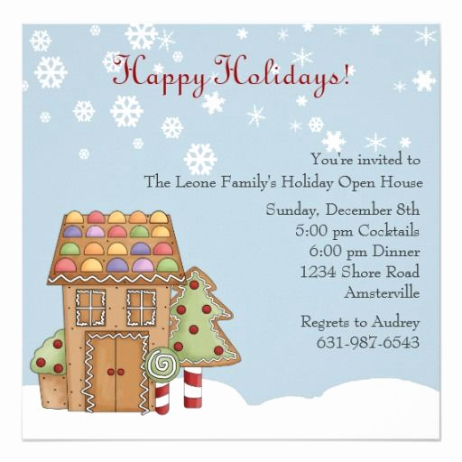 Open House Invites Wording Best Of Gingerbread Holiday Open House Invitation