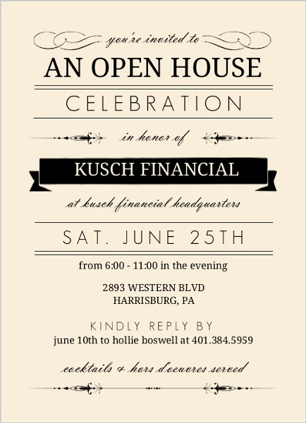 Open House Invites Wording Luxury Cream and Black Typographic Corporate Open House