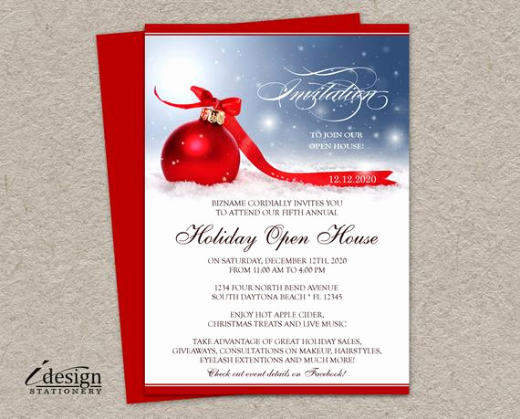 Open House Invites Wording New Holiday Open House Invitation for Business Store Festive
