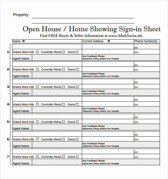 Open House Sign In Sheets Best Of Sample Open House Sign In Sheet 14 Documents In Pdf