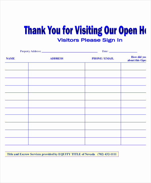 Open House Sign In Sheets Inspirational Open House Sign In Sheet Templates 10 Free Pdf