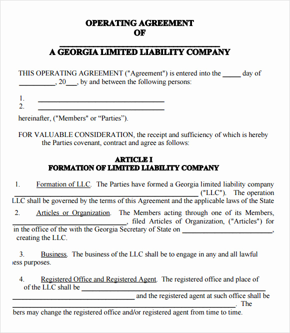 Operating Agreement Template Word Awesome 9 Sample Llc Operating Agreement Templates to Download