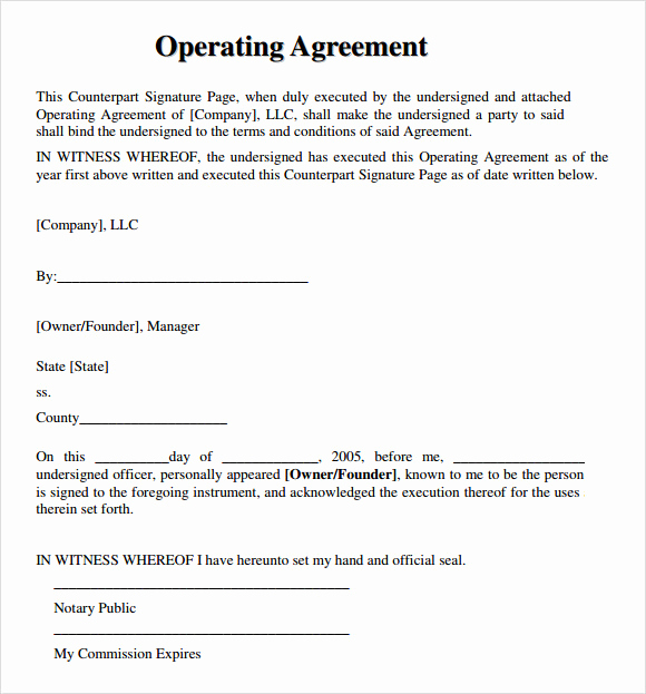 Operating Agreement Template Word Beautiful 9 Sample Llc Operating Agreement Templates to Download
