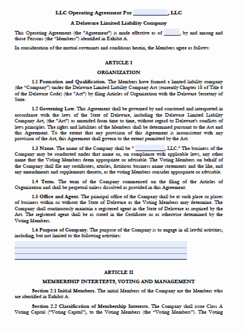 Operating Agreement Template Word Elegant Download Delaware Llc Operating Agreement forms and