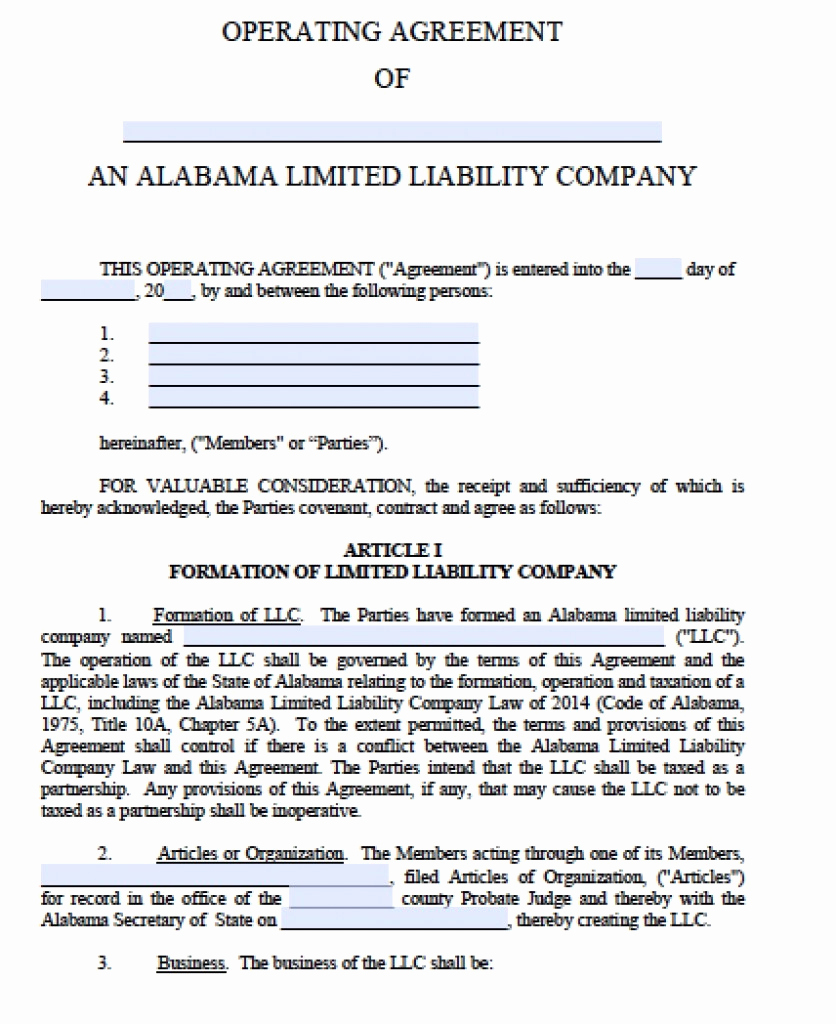 Operating Agreement Template Word Elegant Free Alabama Llc Operating Agreement Template Pdf