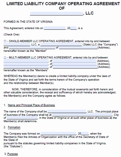 Operating Agreement Template Word Elegant Free Virginia Llc Operating Agreement Template Pdf