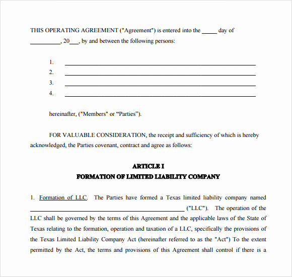 Operating Agreement Template Word Fresh 10 Sample Operating Agreements – Pdf Word