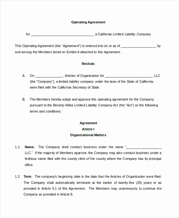 Operating Agreement Template Word Fresh Agreement Template 11 Free Word Pdf Documents Download