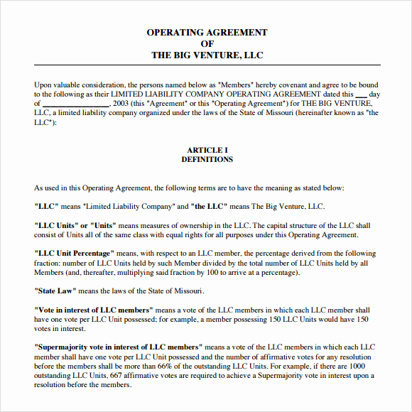 Operating Agreement Template Word Inspirational Operating Agreement Template 8 Free Samples Examples