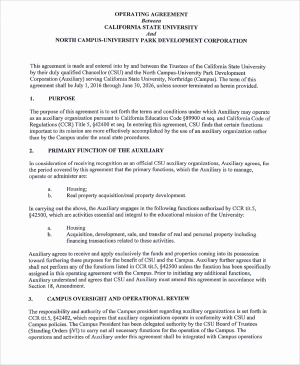 Operating Agreement Template Word Inspirational Operating Agreement Templates 9 Free Word Pdf format