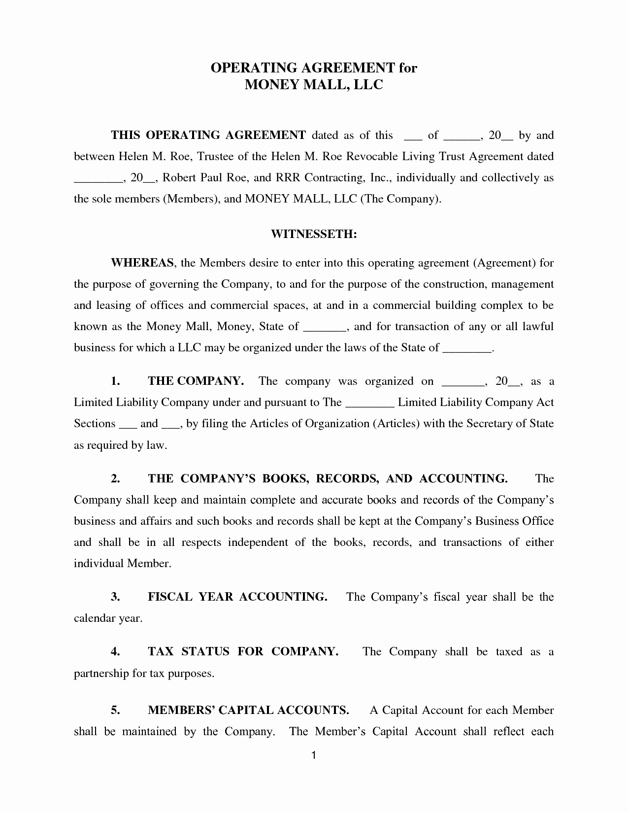 Operating Agreement Template Word Lovely Llc Operating Agreement Template