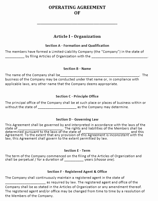 Operating Agreement Template Word Unique 13 Free Sample Operating Agreement Templates Printable