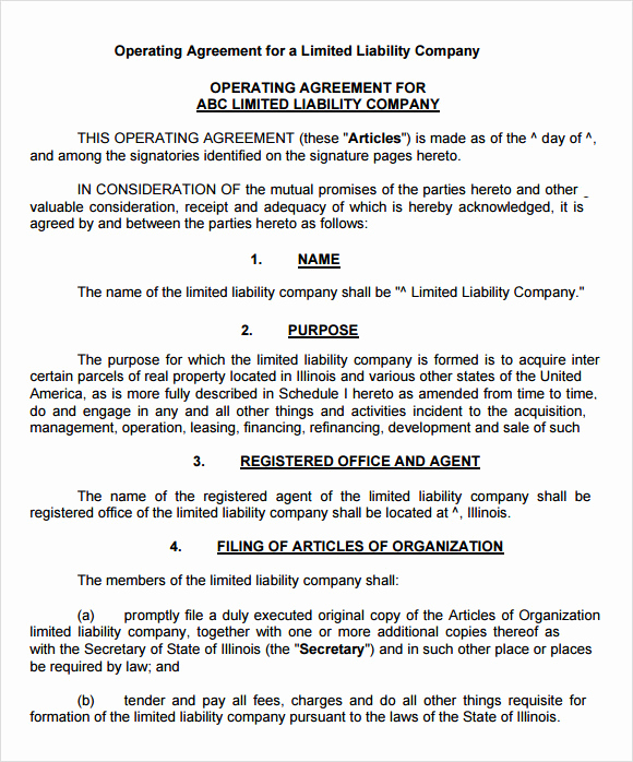Operating Agreement Template Word Unique 9 Sample Llc Operating Agreement Templates to Download