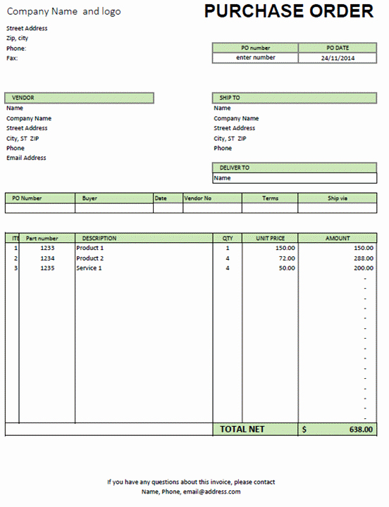 Order form Template Excel New Excel Purchase order Template Excel