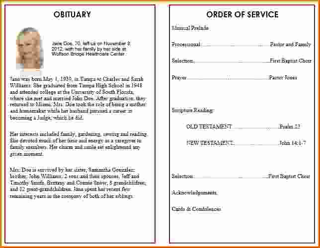 Order Of Service for Funeral Beautiful 9 Memorial Service Program Template