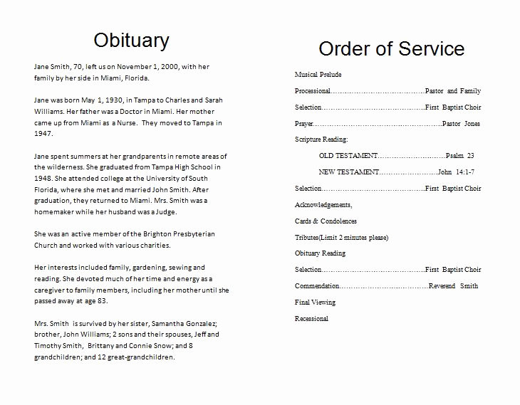 Order Of Service for Funeral Lovely Funeral Program Template Funeral order Of Service