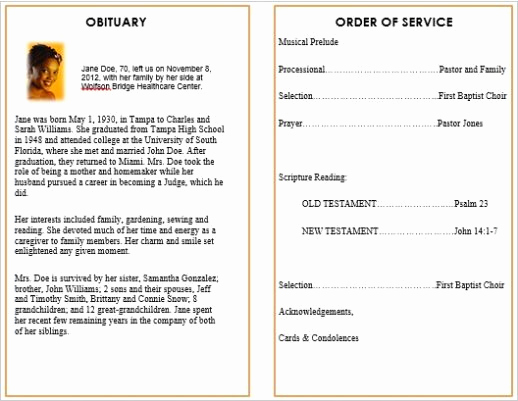 Order Of Service for Funeral Unique Memorial Bulletins for Funerals