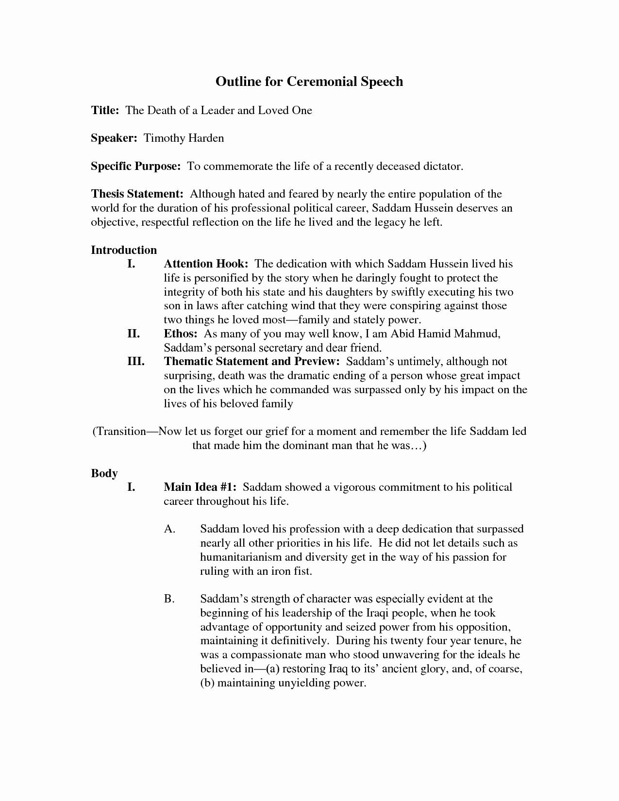 Outline for A Speech Best Of Best S Of Presentation Outline Sample oral