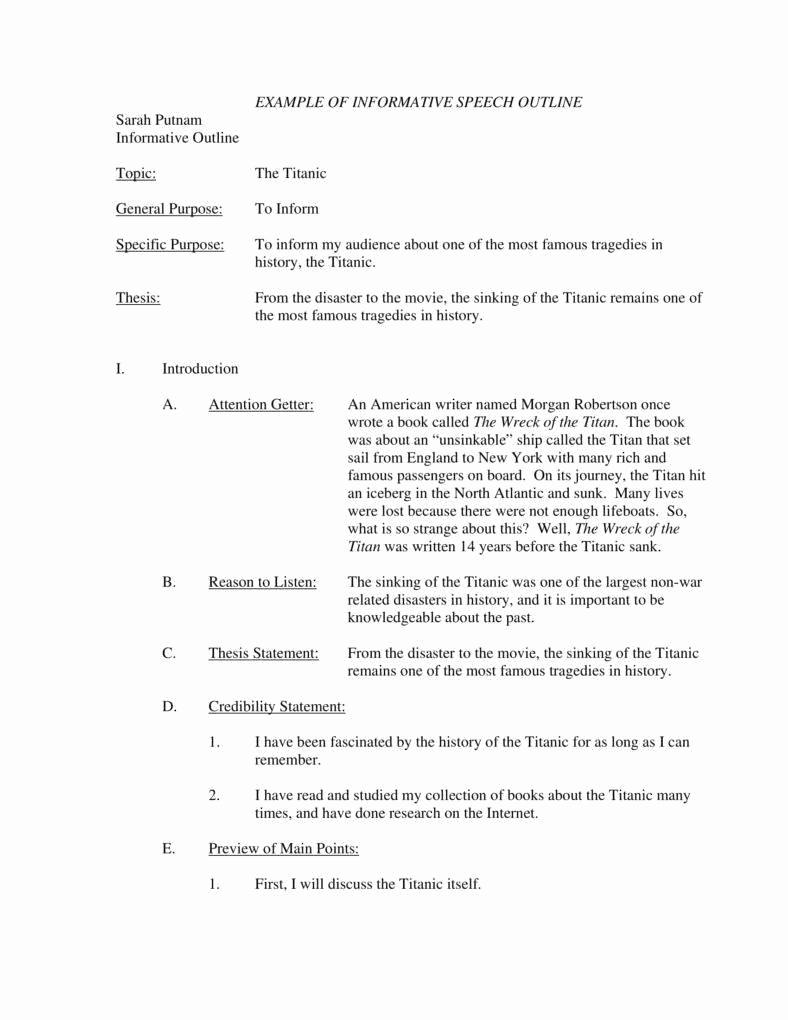 Outline for A Speech Elegant 7 Informative Speech Outline Templates Pdf