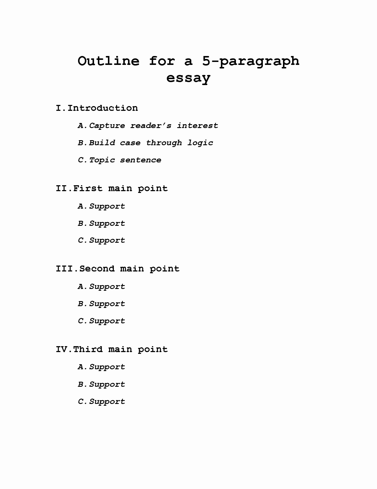 Outline Of A Paper Elegant 56 College Essay Outline Essay Outline Template 25 Free