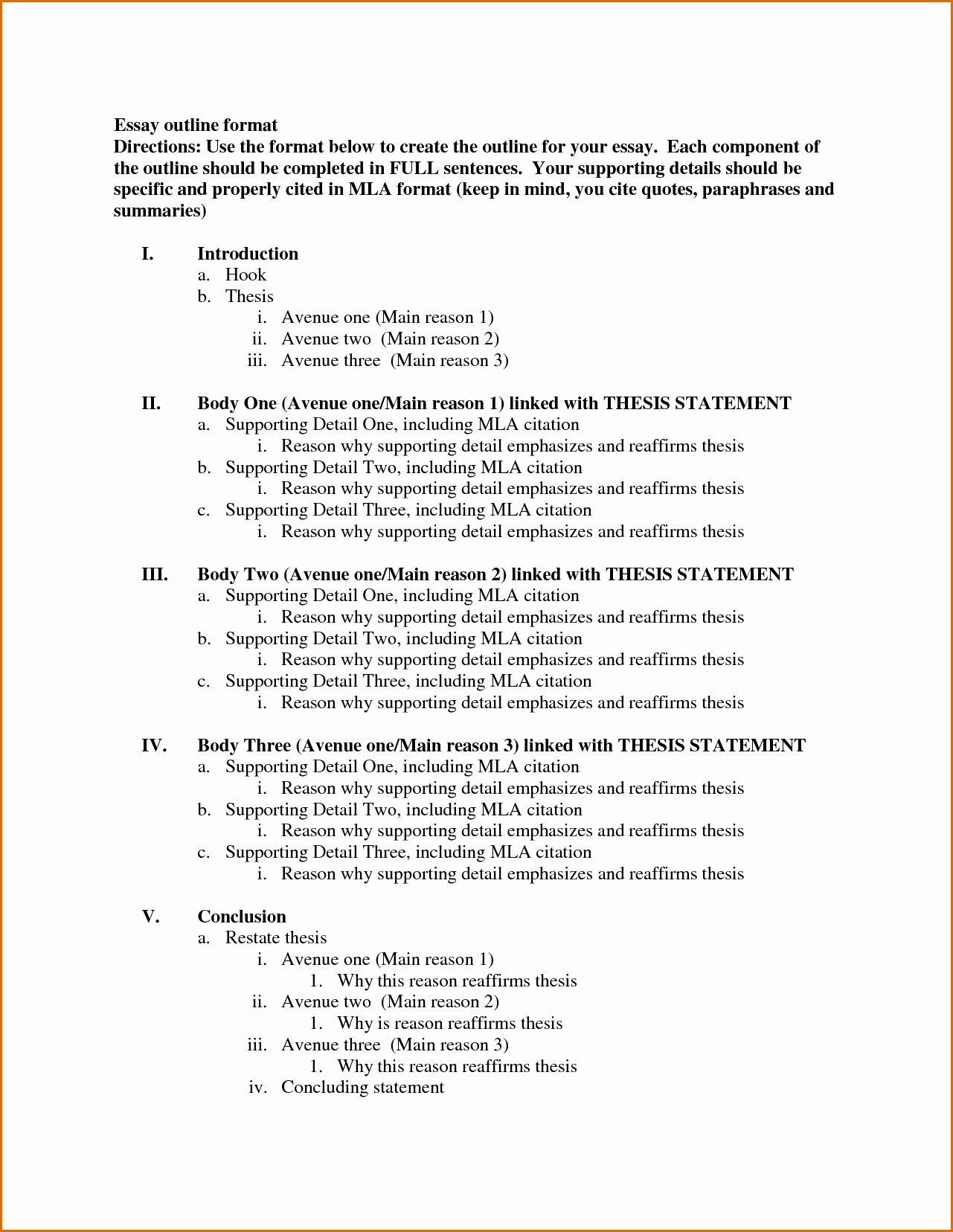 Outline Of A Paper Inspirational 8 Essay Outline Template