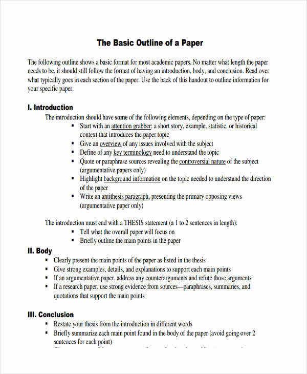 Outline Template for Essay Fresh 10 Paper Outline Templates Free Sample Example format