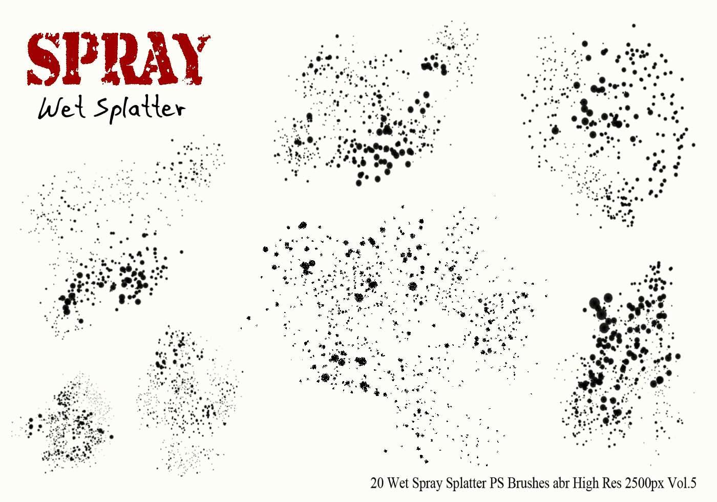 Paint Splatter Brush Photoshop Beautiful 20 Wet Spray Splatter Ps Brushes Vol 5 Free Shop