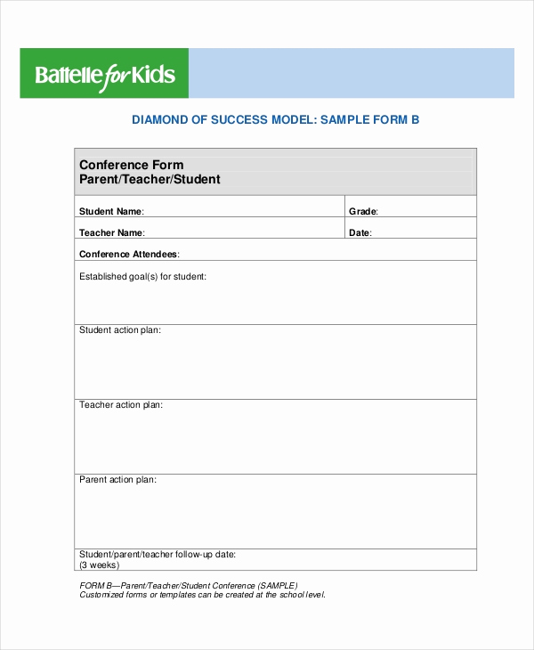 Parent Teacher Conference forms Beautiful 9 Parent Teacher Conference forms Free Sample Example