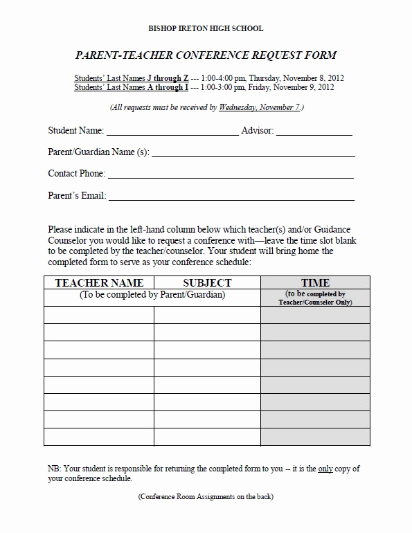 Parent Teacher Conference forms Beautiful Download Fillable Pdf forms for Free