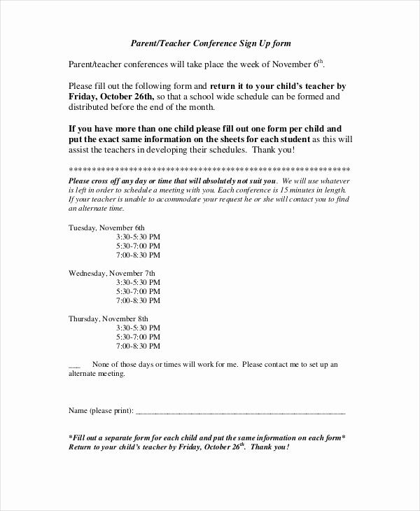 Parent Teacher Conference forms Best Of 9 Parent Teacher Conference forms Free Sample Example