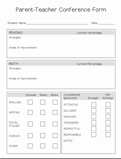 Parent Teacher Conference forms Inspirational Parent Teacher Conference form – Lesson Boutique