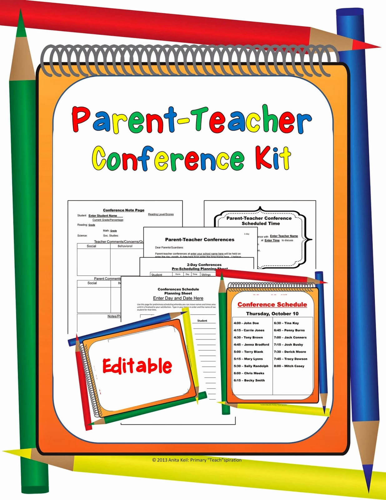 "Parent Teacher Conference forms Inspirational Primary ""teach""spiration Back to School Sale 2014 & A"
