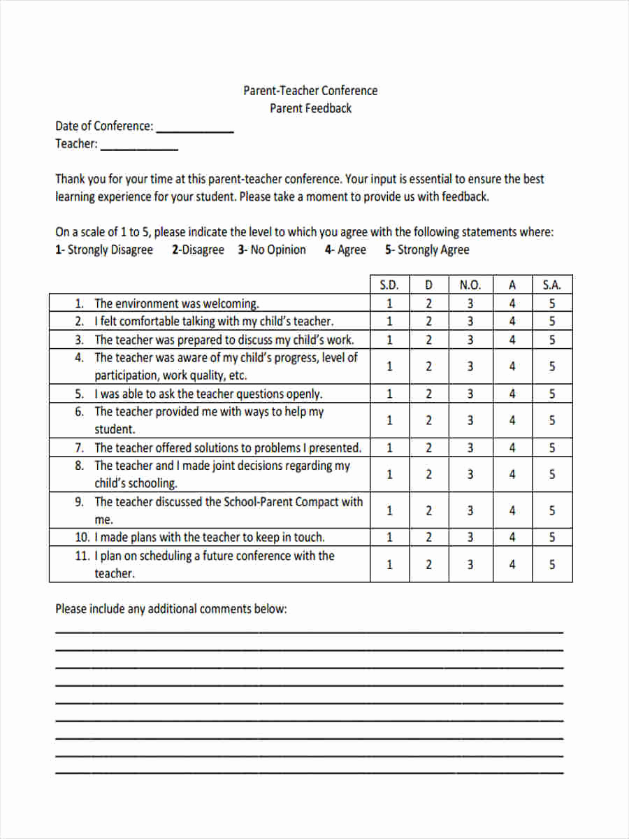 Parent Teacher Conference forms Lovely 16 Teacher Feedback forms In Pdf