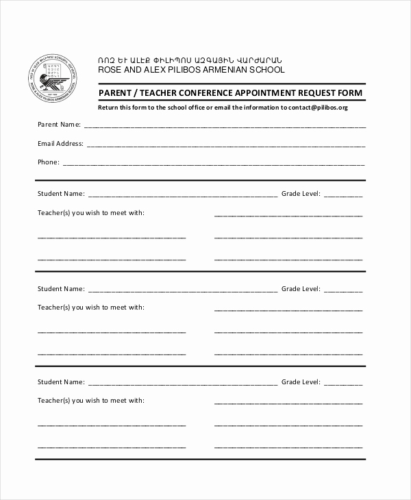 Parent Teacher Conference forms Unique 9 Parent Teacher Conference forms Free Sample Example