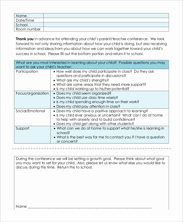 Parent Teacher Conference forms Unique Sample Parent Teacher Conference form 9 Examples In