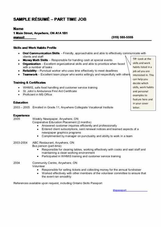 Part Time Job Resume Awesome top 5 Part Time Job Resume Templates Free to In